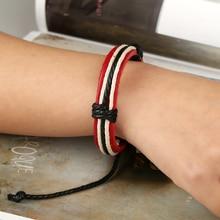 Punk vintage woven leather bracelet adjustable Jewellery for women braided wristband for men creative wild bangle charm bracelet vintage leaf woven bracelet for men