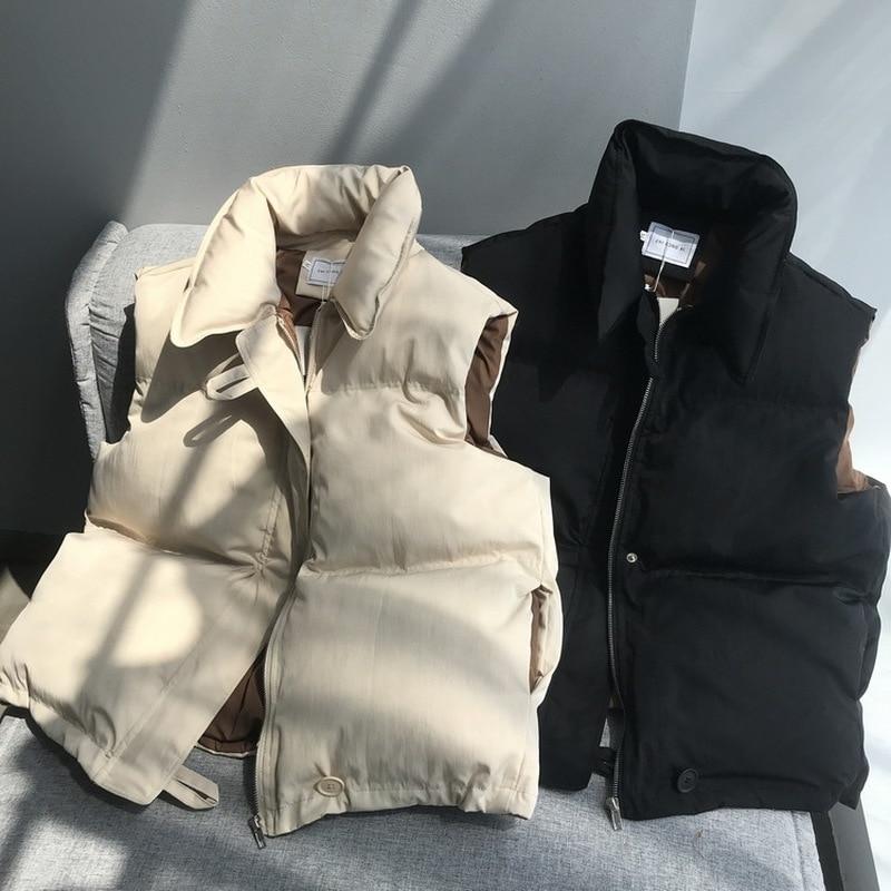 Sleeveless Vest Women Winter Keep Warm Puffer Jacket Solid Stand Collar Harajuku Outwear Loose Fashion Padded Vest Korean Style