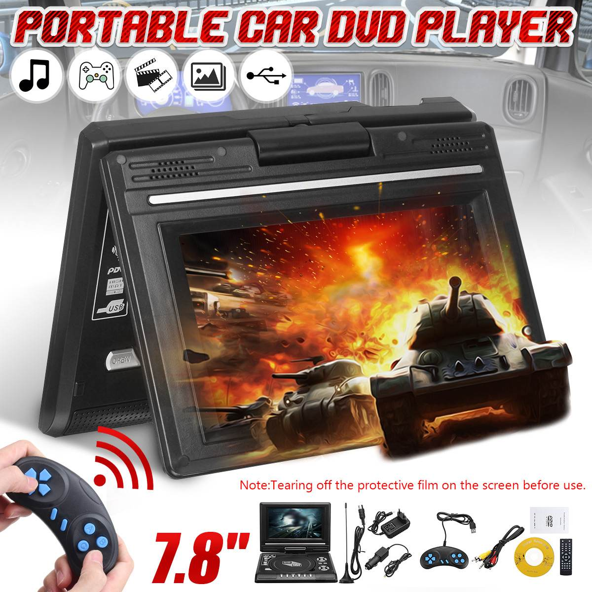 Portable 7.8 Inch HD TV Home <font><b>Car</b></font> DVD <font><b>Player</b></font> VCD <font><b>CD</b></font> <font><b>MP3</b></font> DVD <font><b>Player</b></font> <font><b>USB</b></font> SD Cards RCA TV Portatil Cable Game 16:9 Rotate LCD Screen image