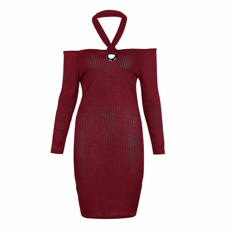 Женское осеннее платье, сексуальное платье на одно плечо с длинным рукавом, однотонное тонкое платье по колено, офис, женское облегающее платье