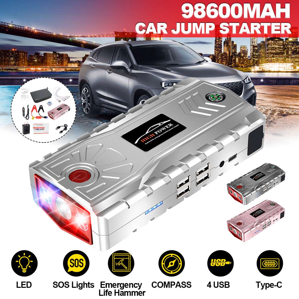 95600mAh Portable Car Jump Starter Powerbank Emergency Battery Booster Digital Charger With LED Flashlight 4 USB Type C Port