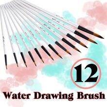 12pcs nylon hair wooden handle watercolor paint brush pen set