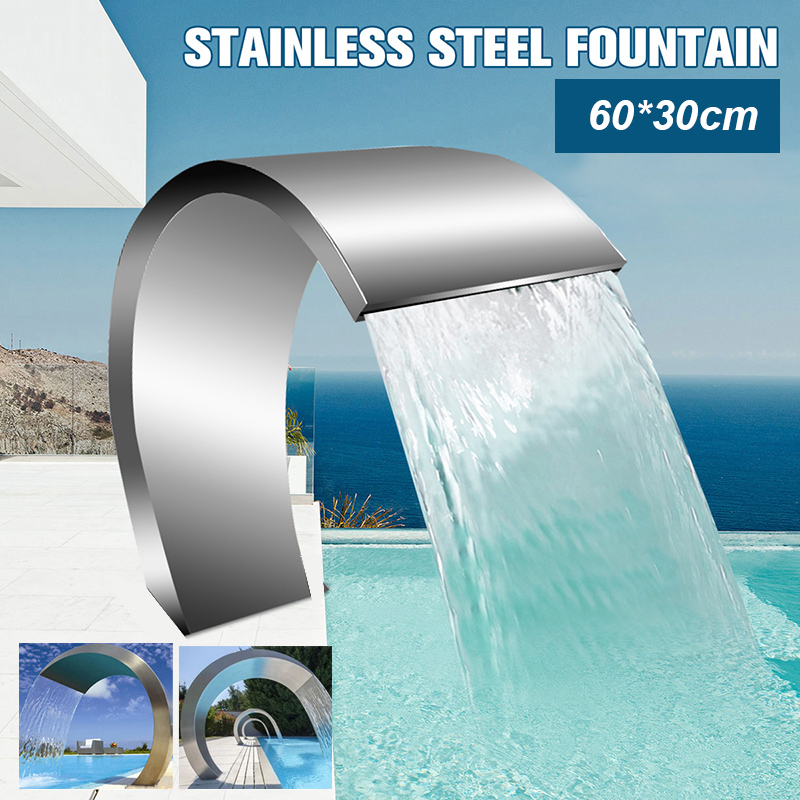 60x30cm piscine en acier inoxydable Accent fontaine d'eau étang jardin piscine cascade caractéristique matériel décoratif robinet