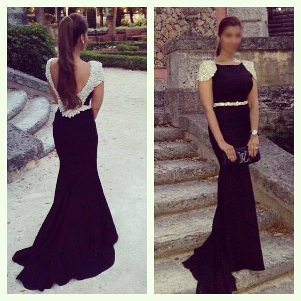 Backless Long Elegant Evening Prom Gown Black Mermaid Formal Rhinestones Robe De Soiree Abendkleider Mother Of The Bride Dresses