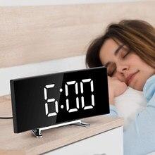 7 Cal cyfrowy budzik zakrzywione ściemniania Led elektroniczny zegar cyfrowy pulpit dla dzieci sypialnia duży zegar numeryczny