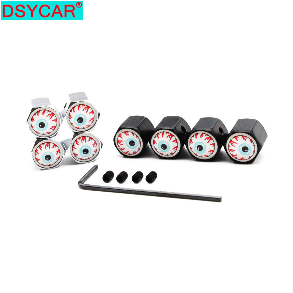 DSYCAR 1Set Car Styling Zinc Alloy Anti-theft Eyeball Style Car Tire Valve Caps Wheel Tires Tire Stem Air Cap Airtight Covers