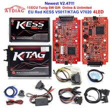 KESS Ktag K TAG V7.020 KESS V2 V5.017 SW V2.25 v2.47 2,47 мастер ECU чип Тюнинг инструмент K-TAG 7,020 онлайн лучше KTAG V7.003