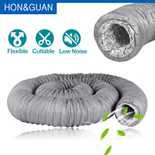 1.2 2.5 5M Low Noise Flexible Aluminum Duct Hose Centrifugal Fan Silencer Ducting Pipe for Restaurant Kitchen Ventilation Vent