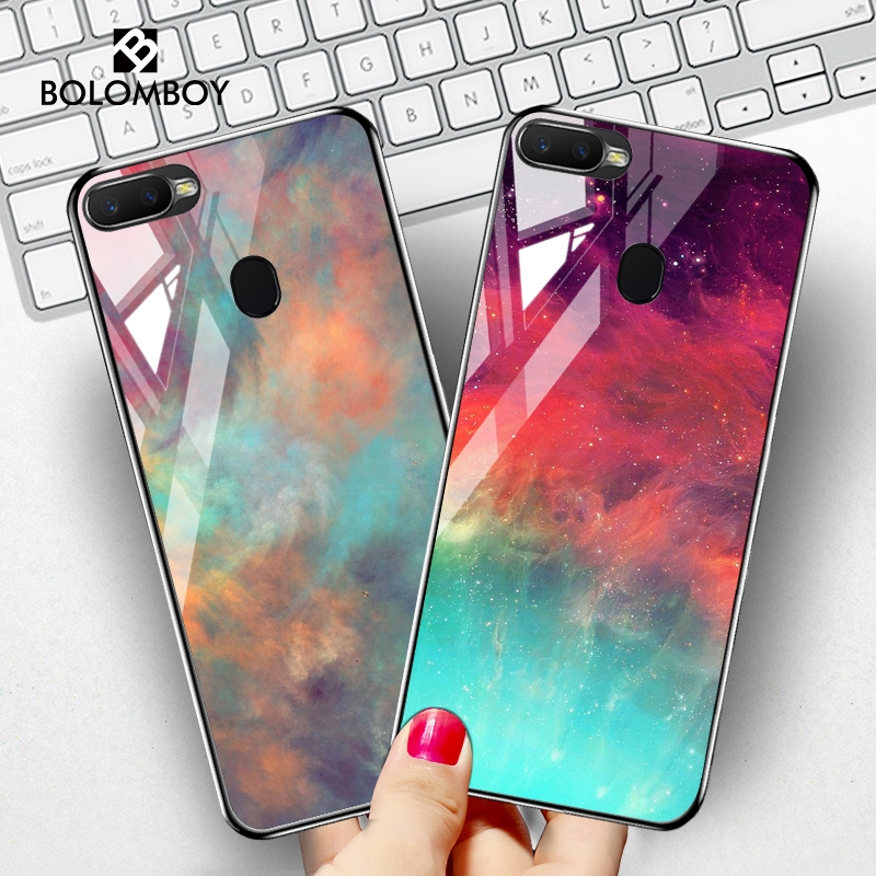 Tempered Glass <font><b>Case</b></font> For <font><b>Oppo</b></font> A79 A83 A1 A9 <font><b>A5</b></font> <font><b>2020</b></font> A11X <font><b>Case</b></font> Star Space Cover For <font><b>Oppo</b></font> F11 F9 Pro A9 A9x F7 A7X Phone <font><b>Cases</b></font> image