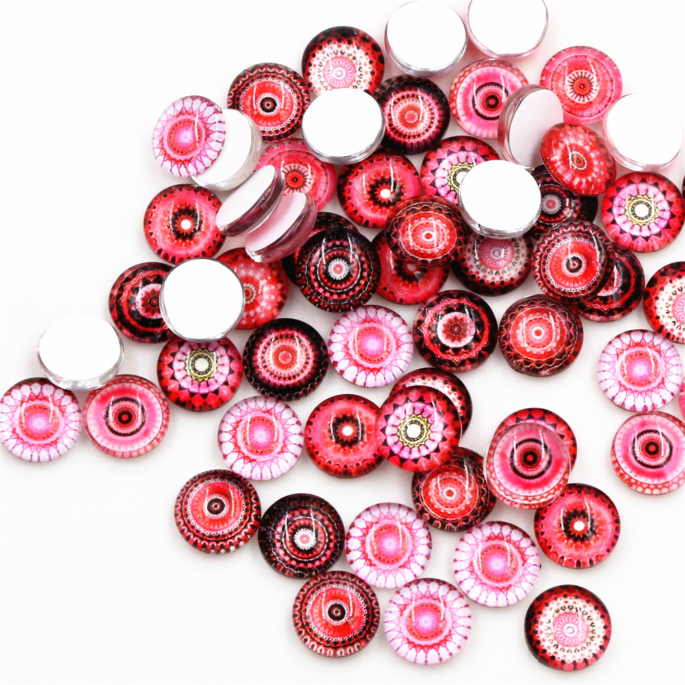 Hot Sale 50pcs 8mm And 10mm Red Mixed Handmade Glass Cabochons Pattern Domed Jewelry Accessories Supplies