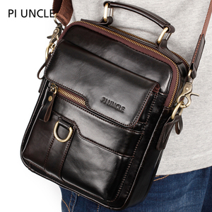 Image 1 - Trend 2019 Genuine Leather Mens Small Shoulder Bags Cross Body Messenger Bags For Men Real Leather Hand bags Male High Quality