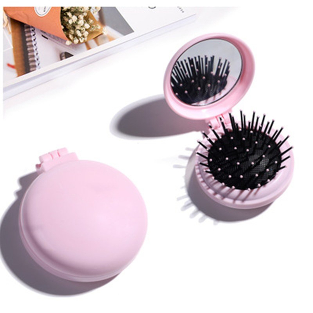 Mini Pocket Mirror Cute Massage Folding Mirror with Comb Portable Pocket Small Travel Girl Hair Brush with Mirror Styling Tools 1