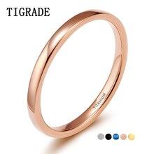 Tigrade 2 мм тонкое титановое кольцо для женщин розовое золото/черный/синий полированное простое тонкое кольцо для мужчин и женщин anel обручальное кольцо