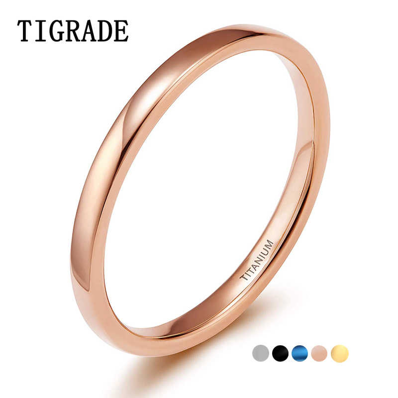 Tigrade 2mm Thin Titanium Ring Women Rose Gold/Black/Blue Polished Simple Slim Rings for Man Female anel Wedding Engagement Band