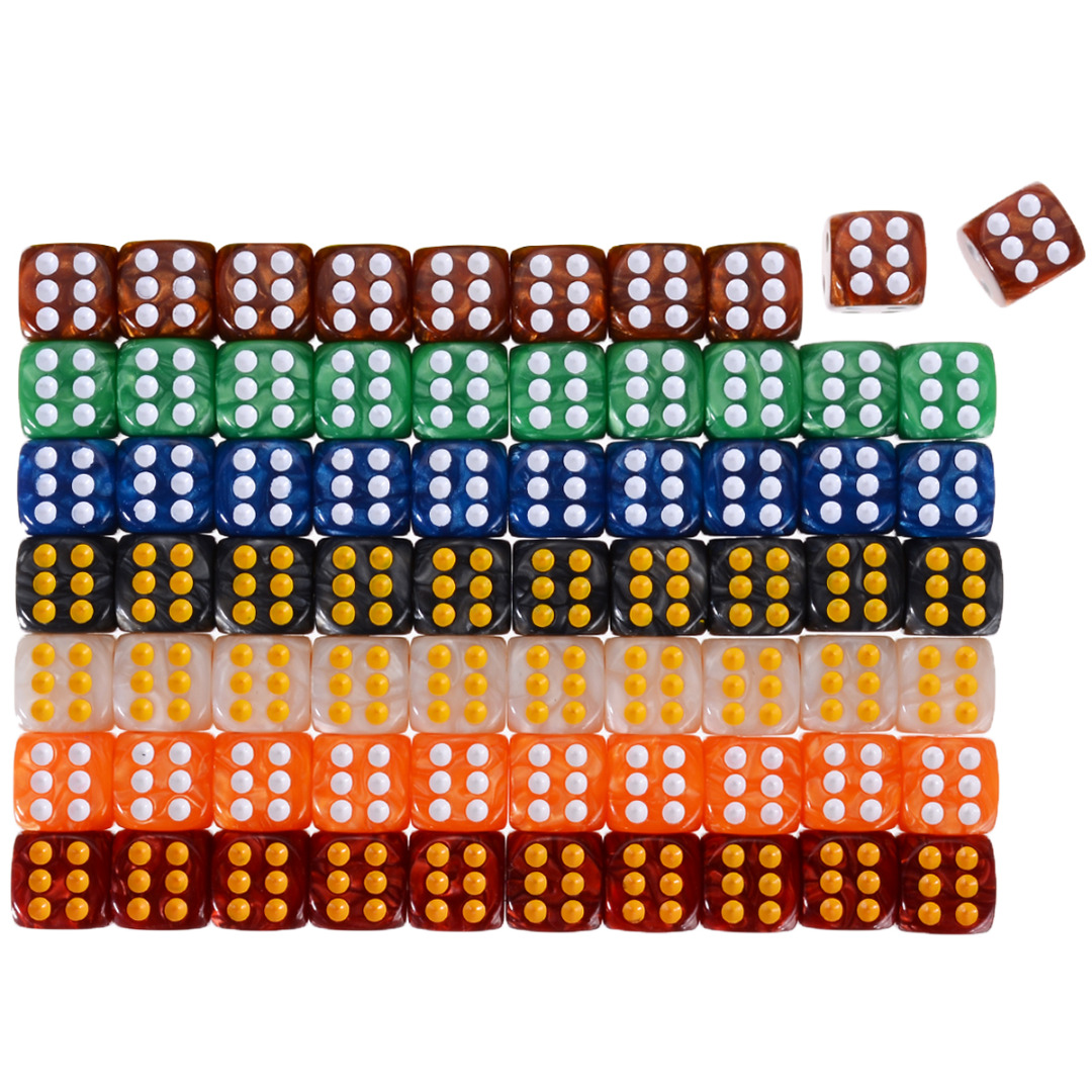 Hot 10pcs Round Corner Pearl Gem Dice 6 Sided 16mm Dice Playing Table Board Bar Games Party Funny Tools Entertainment Supplies