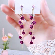 Mwsonya новые корейские фиолетовые розовые серьги с цветами