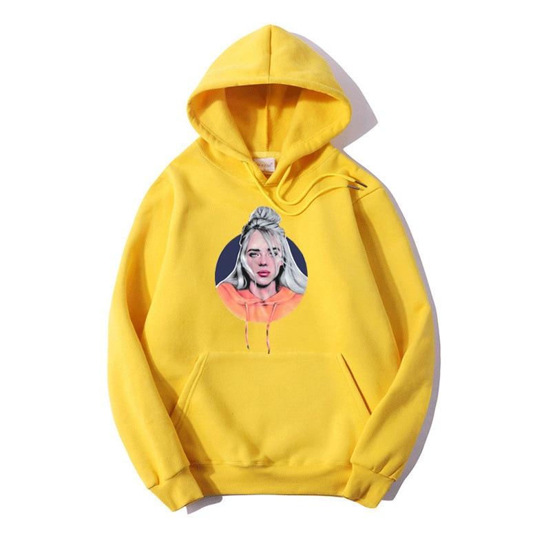 Billie Eilish Hoodie Harajuku Sweatshirt Funny Cartoon Women Sweatshirt Autumn Warm Bad Guy Hooded Graphic Hip Hop Hoody Female