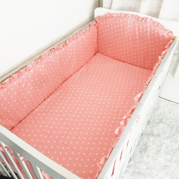 6PCS pink dot baby bedding cot set Bumper Baby Cot Sets Baby Cot Protector Safe Sheet (4bumper+sheet+pillow cover) фото