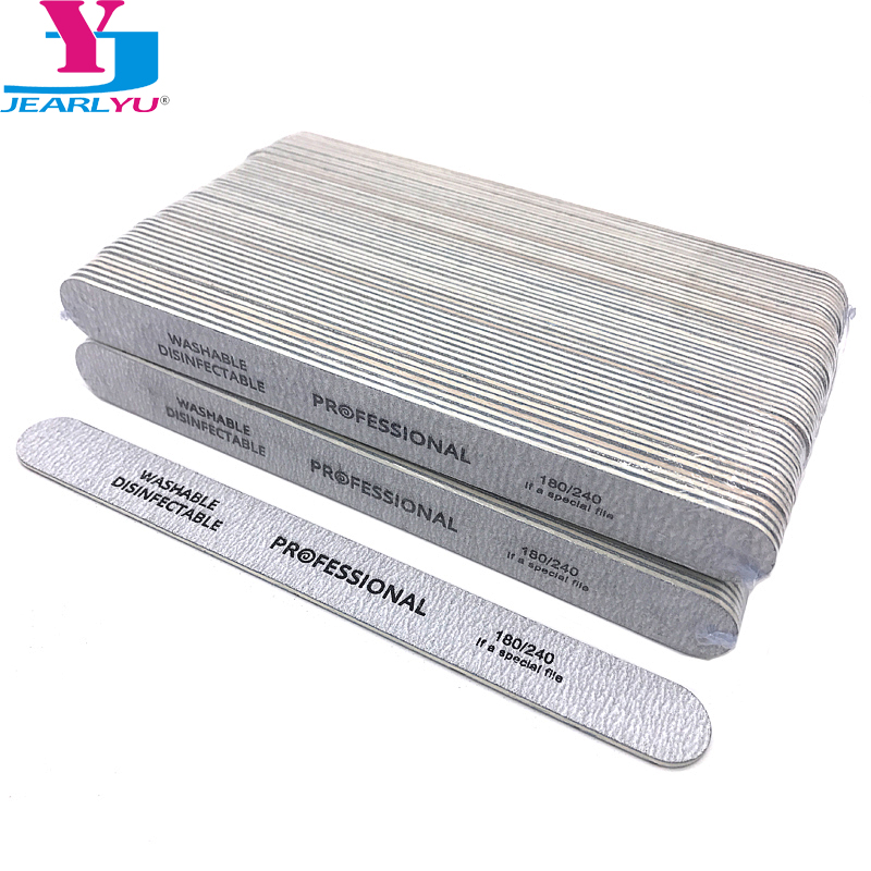 100 X Professional Wooden Nail File Emery Board Srtong Thick Wood Nails Files 180/240 Grit Limas Manicure Acrylic Nail Supplies