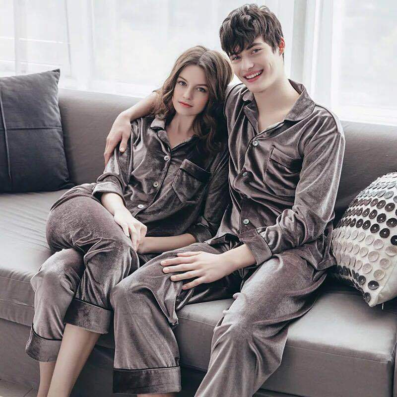 QWEEK 2019 Couple Pajamas Velvet Warm Sleepwear Women Autumn Cardigan Soft Pyjamas Women Two Piece Korean Version Home Pijamas