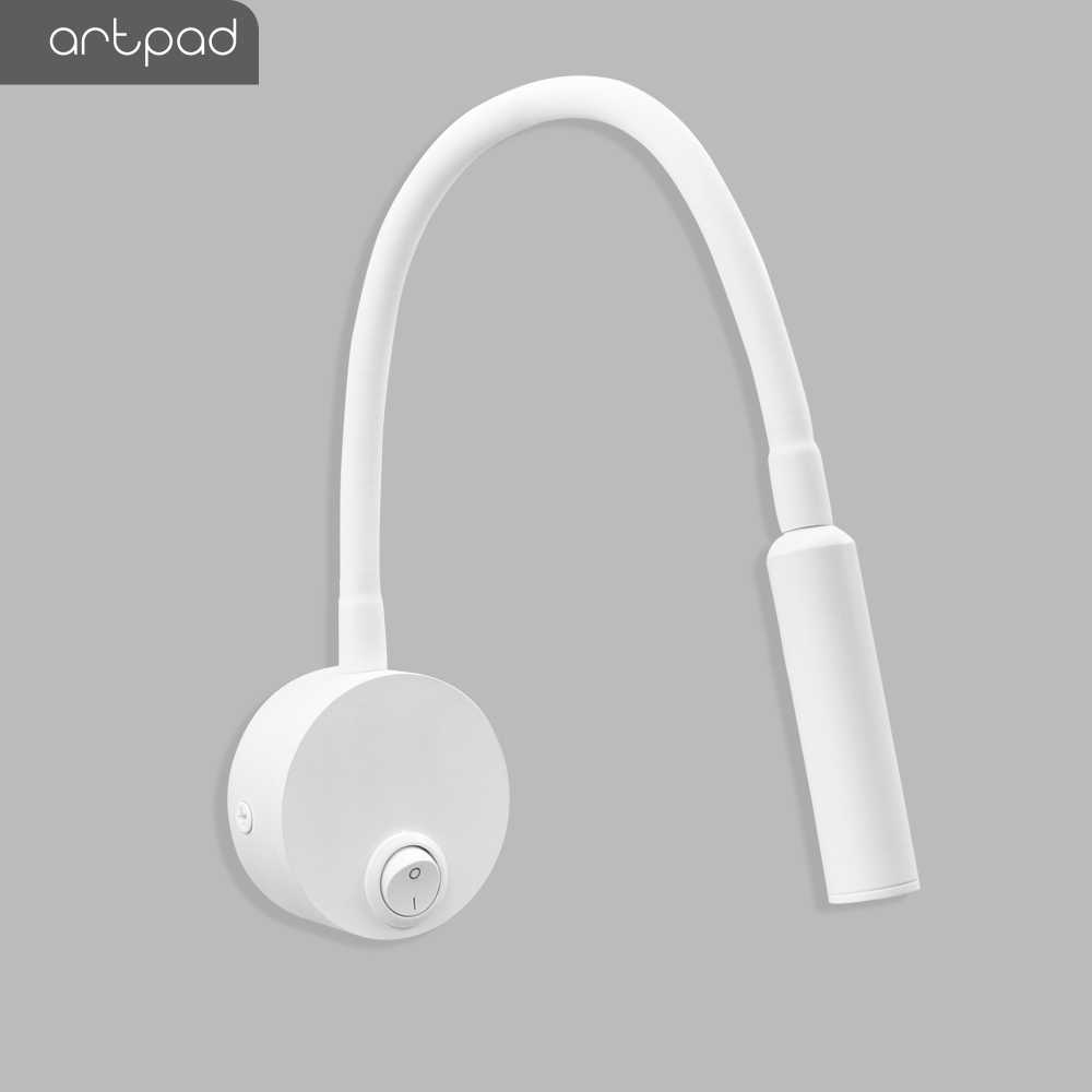 Artpad Mini Folding White Wall Led Button Switch 360 Bend Arm 3w