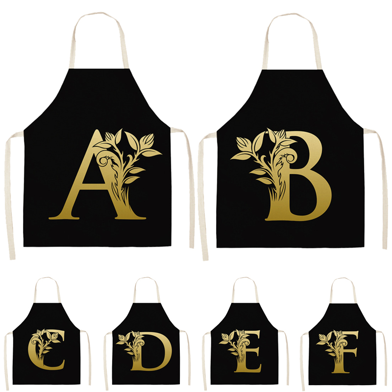Gold Letter Alphabet Pattern Kitchen Apron 53*65cm For Woman Sleeveless Cotton Linen Aprons Cooking Home Cleaning Tools WQ0051