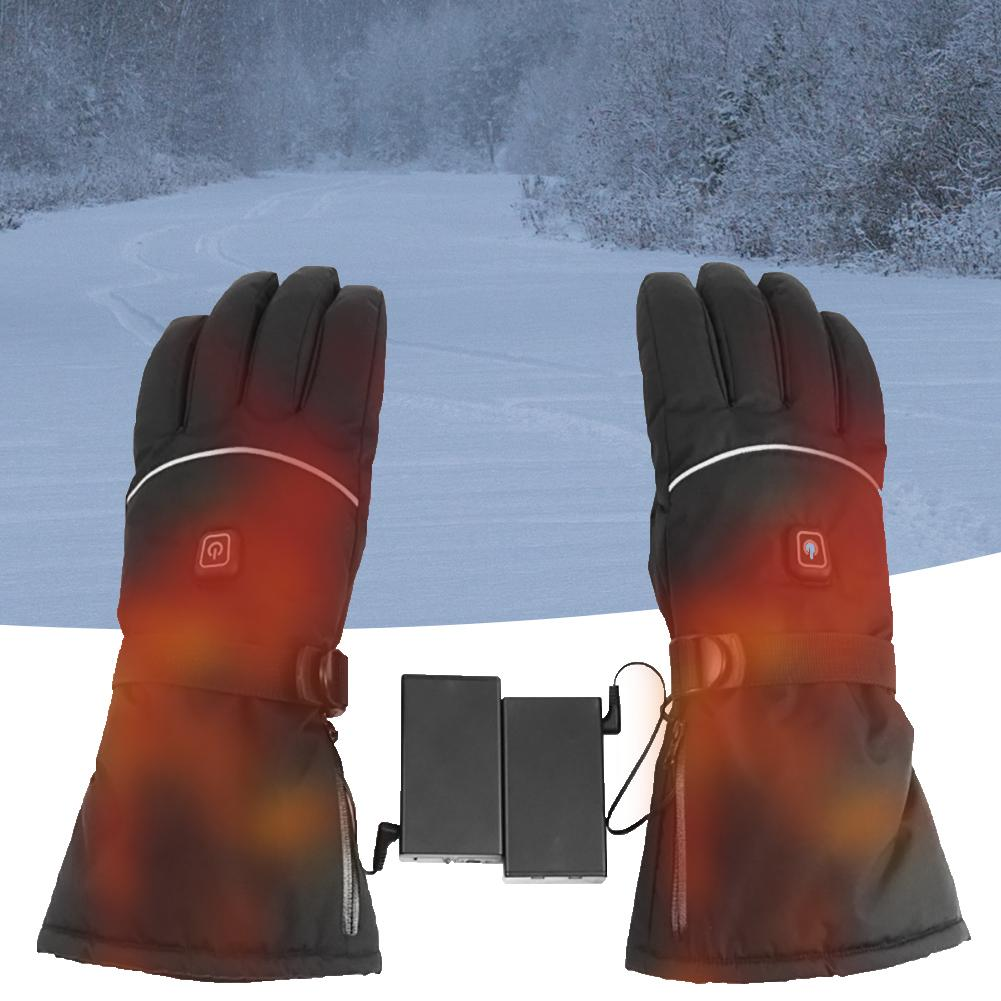 Winter Skiing Gloves Adjustable 3 Levels Temperature Electric Heated Warm Gloves Full Finger Gloves For Skiing Cycling Riding