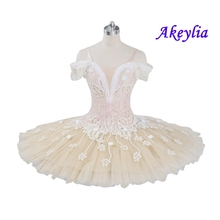 Adult professional ballet tutu beige cream girls peformance tutu puffy flower fairy doll classical ballet stage costume red