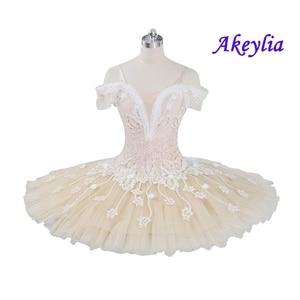 Image 1 - Tutu pour le ballet professionnel pour adultes, crème beige, tutu à fleurs, poupée féerique, classique, costume de scène rouge