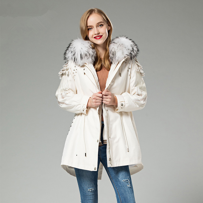 Real Parka Fur Coat Female Rabbit Fur Liner Long Jacket Winter Coat Women Raccoon Fur Collar Warm Oversized Jackets MY S