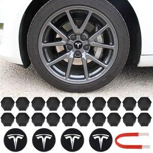 Wheel Center Caps Hub Cover Screw Cap Logo Kit Decorative Tires Cap Modification Accessories For Tesla Aluminum Model 3/ S/ X(China)