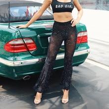 Women Flare Pants Winter Dot Print Street Fashion Streetwear Trousers Elastic Waist Sexy Mesh Casual Female