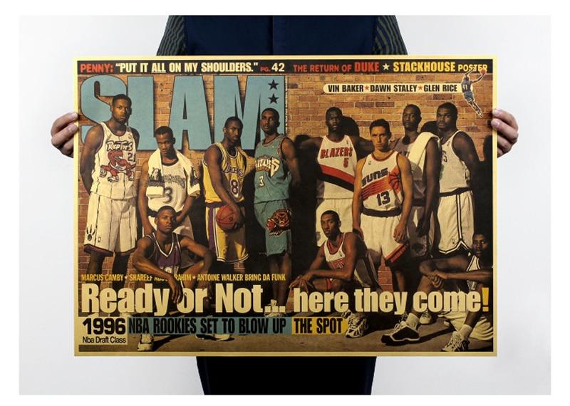 DLKKLB Classic Retro Basketball Poster 96 GoldWarrior Vintage Kobe Art Home Decorative Painting Living Room Bedroom Wall Sticker