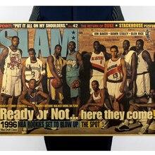 DLKKLB clásico Retro cartel de baloncesto 96 GoldWarrior Vintage Kobe arte hogar pintura decorativa sala de estar dormitorio etiqueta de la pared