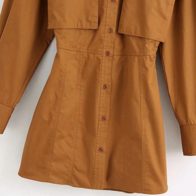 Wixra robe à manches longues femmes col rabattu grandes poches robes courtes dos évider chemises vêtements été