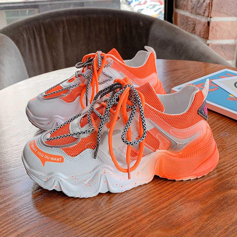 2020 Mới Vulcanize Giày Nữ Giày Nữ Thời Trang Bố Giày Nền Tảng Giày Sneaker Màu Xanh Cam Nữ Giày Nữ Chun Giày