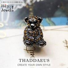 Perles marron ours en peluche, argent et strass perles convient Bracelet Europe bijoux cadeau de Thanksgiving pour femmes et hommes