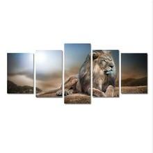 5 шт картина с изображением Льва в гостиную hd печать черно