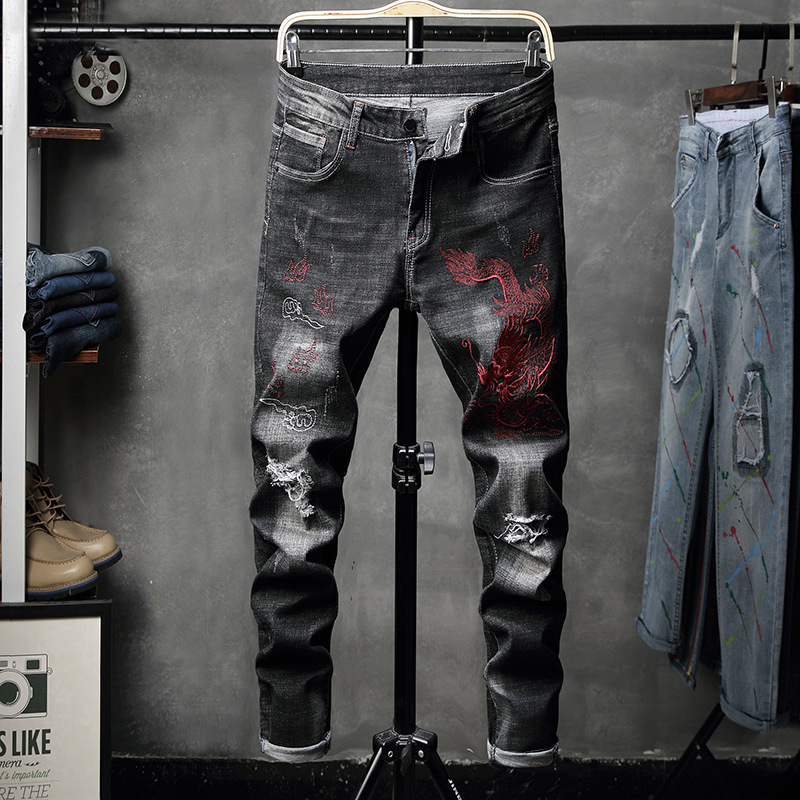 Autumn And Winter New Style Men's With Holes Embroidered Dragon Elasticity Black And White With Pattern Skinny Skinny Jeans Fash