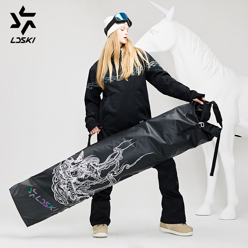 LDSKI Foldable Wheeled Ski Bag Roll-up Snowboard Bag Durable Waterproof Shell Winter Sports Travel Bag Extendable 155~185 Cm