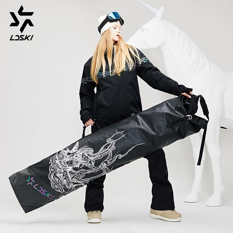 LDSKI Foldable Wheeled Ski Bag Roll-up Snowboard Bag Durable Waterproof Shell Winter Sports Travel Bag Extendable 155~185 Cm