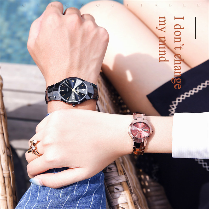 dwaterproof água luminosa casal relógio de luxo