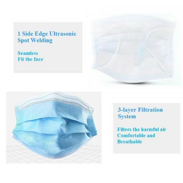 Disposable Mouth Face Mask Anti-Dust 3 Layer Mouth Masks Anti Flu PM2.5 Breathable Masks Face Care Elastic Earloop