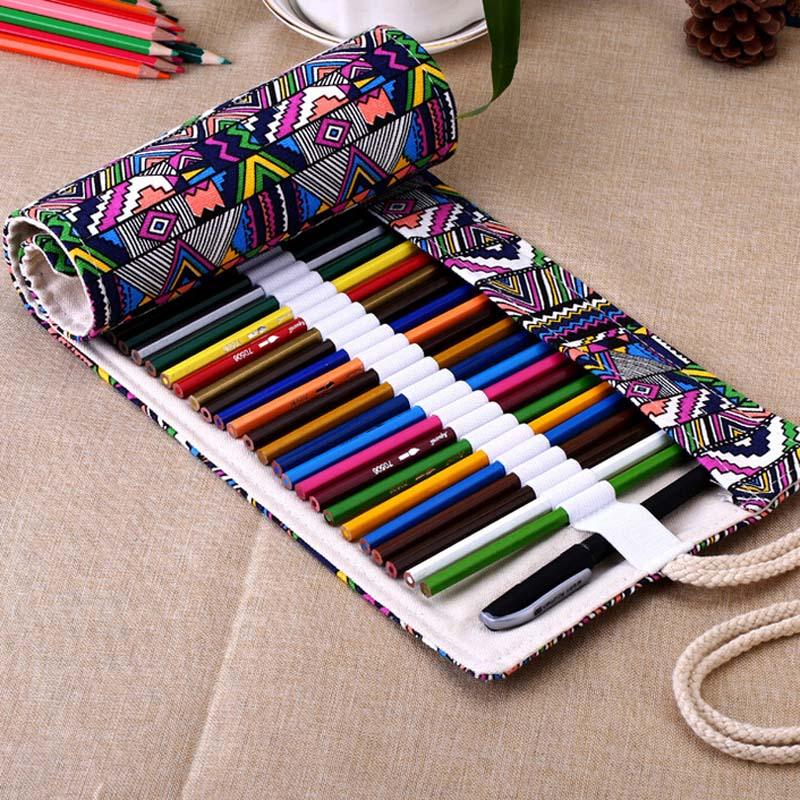 2020 Pencil Case 36/48/72 /12 Holes Canvas Wrap Roll Up Pencil Bag Pen Case Holder Storage Pouch Writing Supplies JR Deals