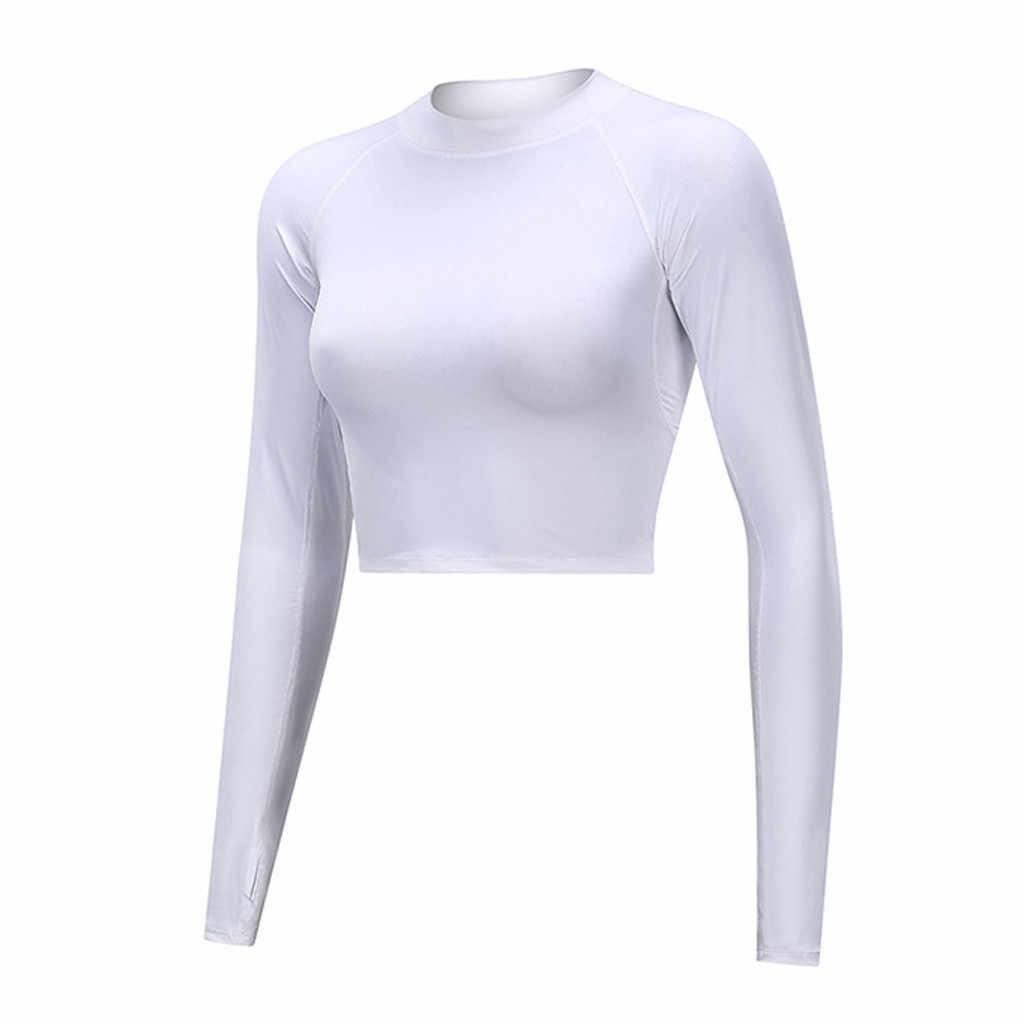 2019 Blusas الأنثوية قميص المرأة لون نقي كم طويل ضيق اللياقة البدنية تشغيل سترة يوجا القمم Camiseta Mujer #40