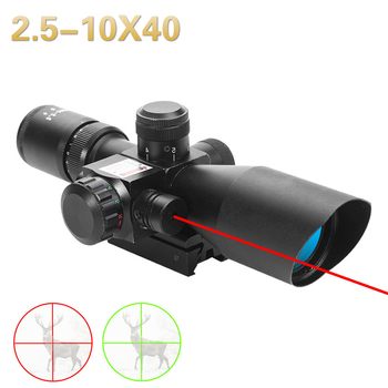 Rifle telescopic sight, 2.5-10X40, red, green, thousand points, hunting Rifle, red dot laser illuminated tactical Rifle sight new 3 9x42eg hunting rifle scope red green dot illuminated telescopic sight riflescope w tactical red laser scope sight