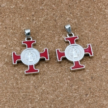 6pcs Red Enamel ST  Michael Cruz religious medal Dangle Charm pendants Fit Charm necklace DIY Jewelry 25x35mm A-512a gdrgyb 2019 st anthony of padua saint necklace st anthony jewelry cabochon religious religious gift necklace