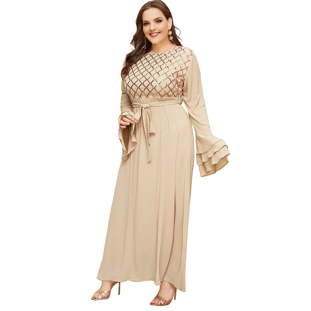 Plus Size Muslim Party Dresses for Women Autumn 2020 Chic Sequin Embroidered Maxi Dress Bubble Chiffon Arabic Clothing 5XL 4XL