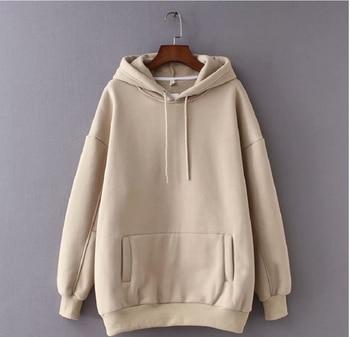 цена на japanese fashion Tangada women fleece hoodie sweatshirts winter 2020 oversize ladies pullovers warm pocket hooded jacket s-l