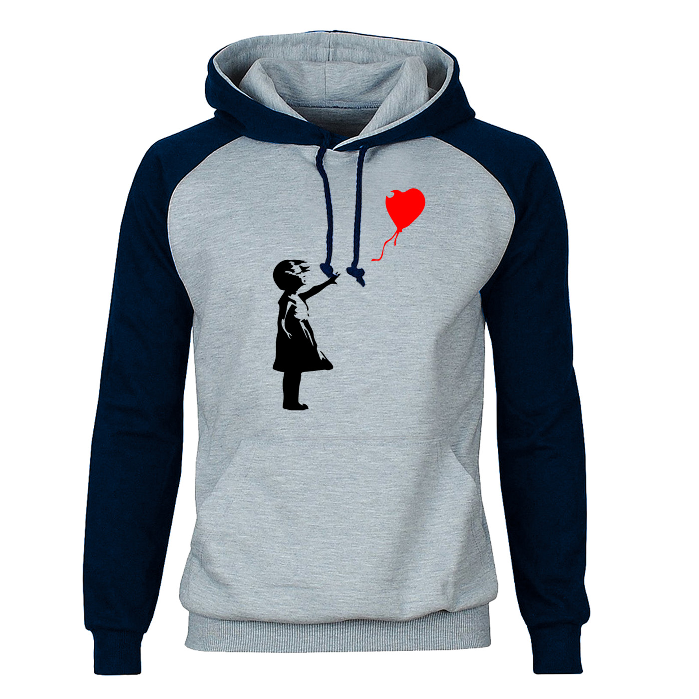 World Peace Hoodies Sweatshirts Men Kcco Balloon Girl Banksy Love Raglan Hooded Sweatshirt Hoodie Winter Autumn Warm Streetwear
